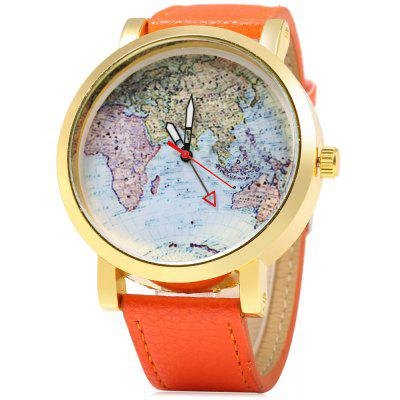 JUBAOLI 1096 Map Decoration Ladies Quart Watch Leather Band