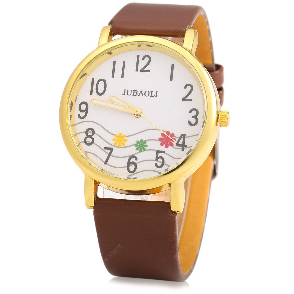 JUBAOLI 1091 Decorative Flower Ladies Quart Watch Leather Band