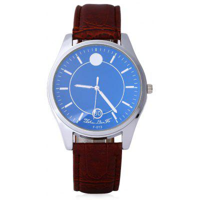 Male Dual Scale Quartz Watch Leather Strap