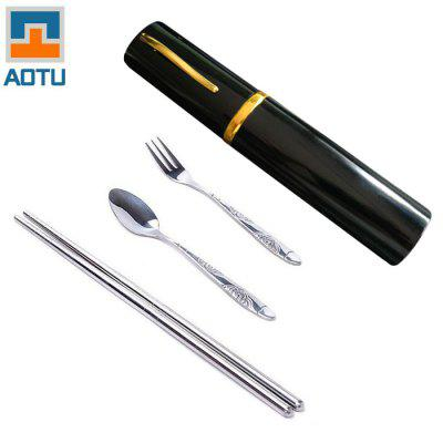AOTU AT6362 3 in 1 Stainless Steel Chopsticks Fork Spoon