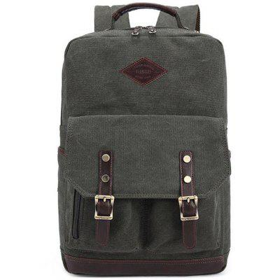 Buy ARMY GREEN KAUKKO ZP20 15L Retro Style Unisex Canvas Backpack for $27.03 in GearBest store