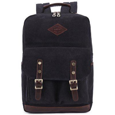 Buy BLACK KAUKKO ZP20 15L Retro Style Unisex Canvas Backpack for $26.12 in GearBest store