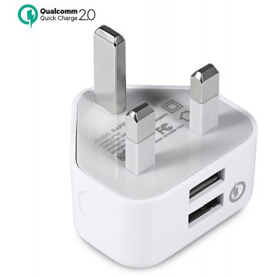QC2.0 Dual USB Charger UK Plug