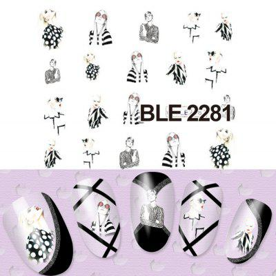 5PCS Pretty Girl Designs Nail Sticker Decals