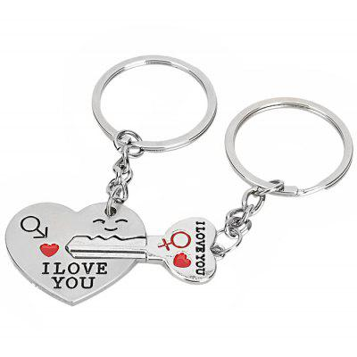 2PCS Lovely I Love You Shape Key Chain