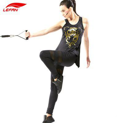 LEFAN Female Exercising Two-piece SuitYoga<br>LEFAN Female Exercising Two-piece Suit<br><br>Brand: LEFAN<br>Color: Black<br>Gender: Female<br>Package Content: 1 x Vest, 1 x Pants<br>Package size: 28.00 x 21.00 x 3.00 cm / 11.02 x 8.27 x 1.18 inches<br>Package weight: 0.320 kg<br>Product weight: 0.270 kg<br>Size: L,M,XL,XXL