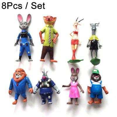 8Pcs Cute Model Anime Zoo Animal 10 - 15cm Figure Toy Home Decoration Great Gift