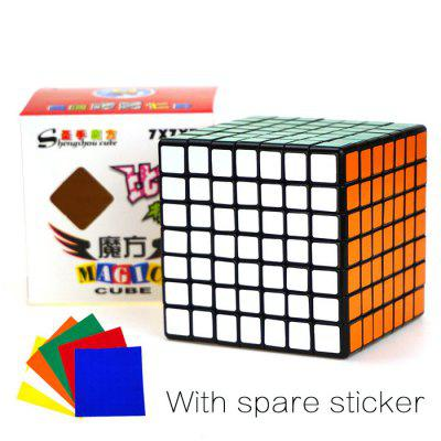 Shengshou Cube Competition 7 x 7 x 7 Black Base V-Cube 7 Portable Intelligent Toy