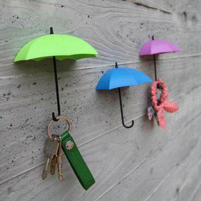 Buy BLUE + PURPLE +GREEN 3PCS Umbrella Shape Hook Home Decoration Paste for $3.44 in GearBest store