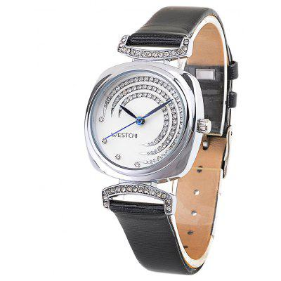 WESTCHI 3117L Waterproof Diamond Decoration Ladies Quartz Watch Genuine Leather Band