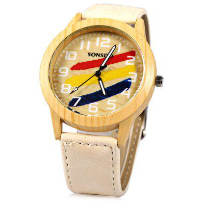 SONSDO 6635A Unisex Quartz Wristwatch Wood Style Leather Strap