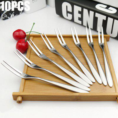 10PCS Stainless Steel Fruit Fork