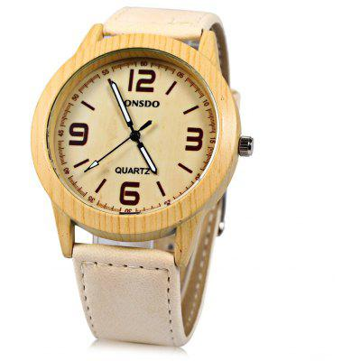 SONSDO 6635B Unisex Quartz Wristwatch Wood Style Leather Strap