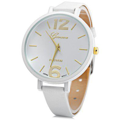 Geneva Ladies Japan Quartz Watch with Slim Leather Band