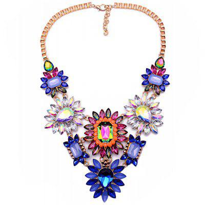 WQ014 Luxury Rhinestone Flower Design Necklace for Ladies