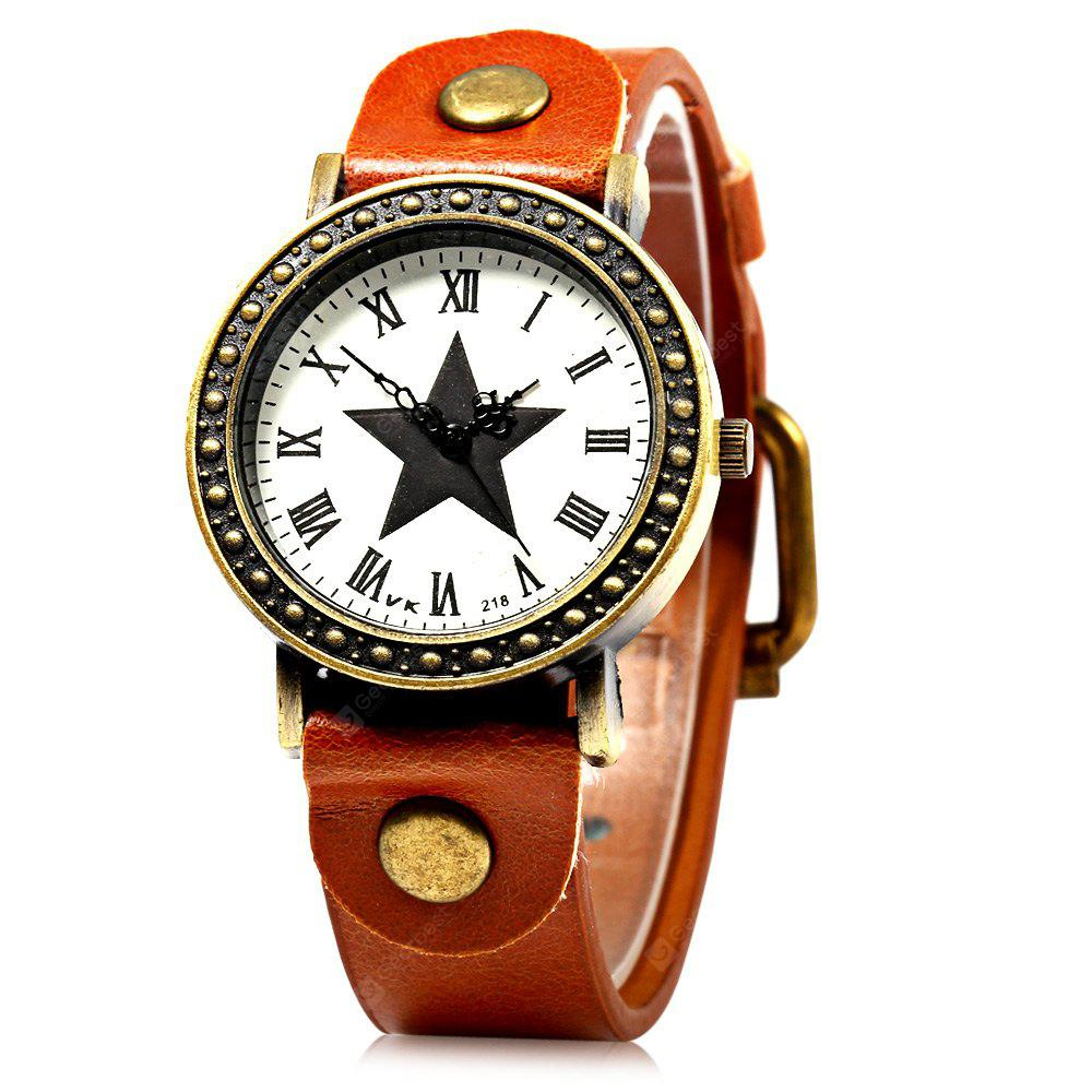 218 Women Quartz Watch with Leather Watchband Star Pattern