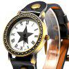 218 Women Quartz Watch with Leather Watchband Star Pattern - BROWN