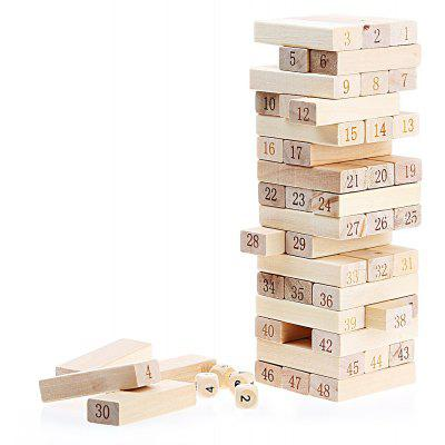 48pcs Wooden Number Building Blocks