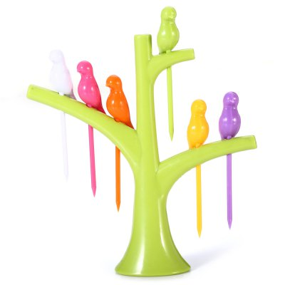 6Pcs Utility Birds on Tree Fruit Forks Tableware Kitchen Household Supplies