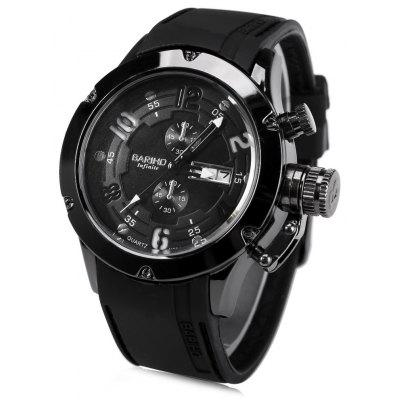 BARIHO H331 Men Watch Day Date Display Rubber Watchband