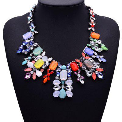 WQ019 Colorful Rhinestone Pendant Women Necklace