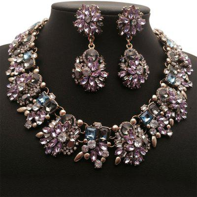 WQ020 Rhinestone Earring + Necklace Kit Women Jewelry