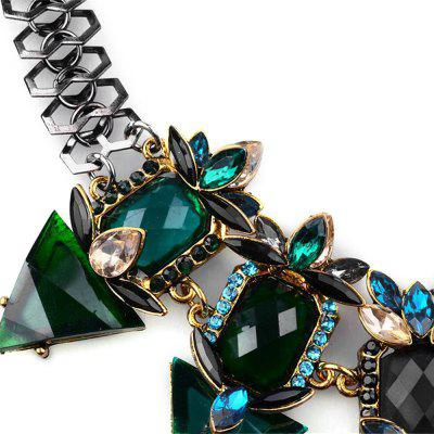 WQ038 Charming Triangle Rhinestone Pendant Female NecklaceNecklaces &amp; Pendants<br>WQ038 Charming Triangle Rhinestone Pendant Female Necklace<br><br>Color: Blue,Green<br>Fabric: Alloy,Crystal<br>Jewelry Silhouette: Pendant<br>Occasions: Casual, Personalized Photo, Performance, Party<br>Package Contents: 1 x Necklace<br>Package size (L x W x H): 19.50 x 6.50 x 2.00 cm / 7.68 x 2.56 x 0.79 inches<br>Package weight: 0.134 KG<br>Product size (L x W x H): 18.50 x 5.50 x 1.00 cm / 7.28 x 2.17 x 0.39 inches<br>Product weight: 0.104KG<br>Style: Fashion