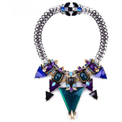 WQ038 Charming Triangle Rhinestone Pendant Female Necklace