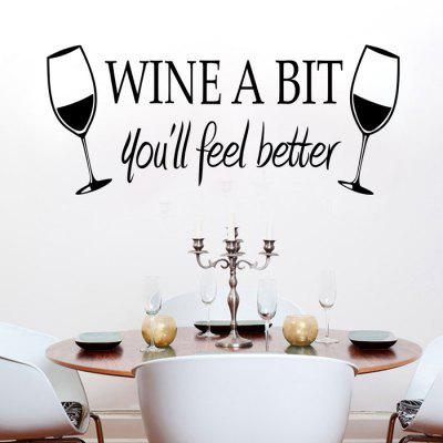 Buy BLACK PVC Wine Glass Style Wall Stickers Water Resistant Art Decor for $5.85 in GearBest store