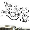 PVC Wake Up To Letter Large Removable Wall Decals - BLACK