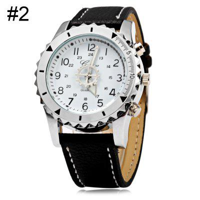 Geneva A422 Men Quartz Watch with Genuine Leather Strap