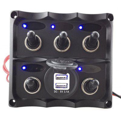 S8005-JU Marine Electric 5 Gang LED Toggle Switch USB Charger Panel for Boat RVs