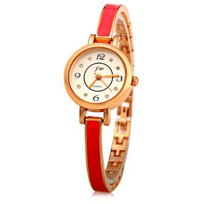 JW 8072 Round Dial Diamond Ladies Quartz Watch Alloy Band