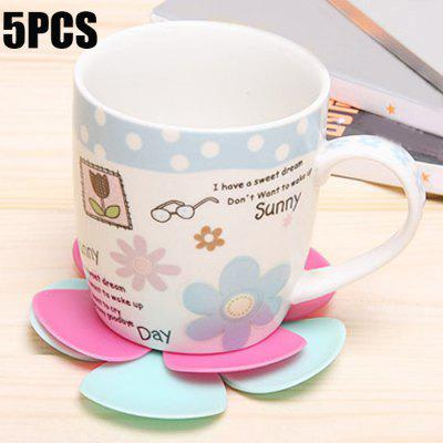 5PCS Silicone Flower Shape Heat Insulation Mat
