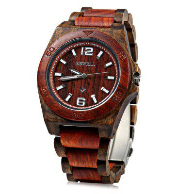 Bewell 082 Sandalwood Dial Lightweight Male Japan Quartz Watch