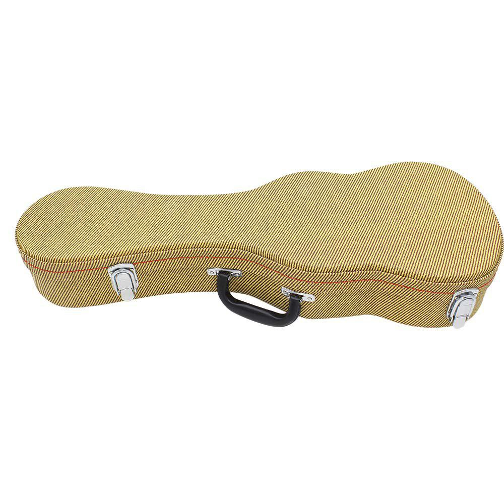 Portable 21 inch Ukulele Leather Case Plush Padded Bag with Wooden Structure