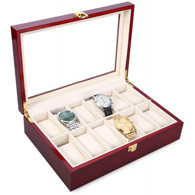 12 Slots Wood Watch Display Case