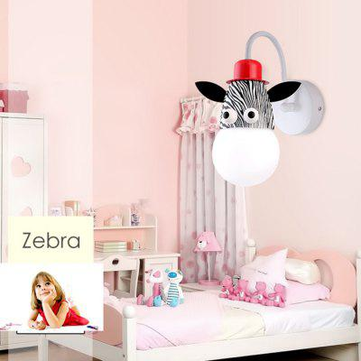 Cartoon Zebra LED Wall Light Kids Bedroom Kindergarten
