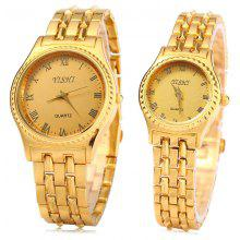 YiShi 908 Couple Quartz Watch with Golden Body