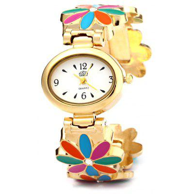 USS 1429 Women Quartz Bracelet Watch Elliptical Dial Flower Steel Strap