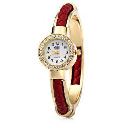 USS 1443 Women Quartz Bracelet Watch Diamond Leather Steel Strap