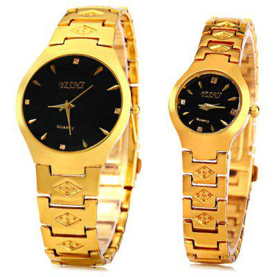 YiShi 905 Couple Quartz Watch Golden Diamond Wristwatch