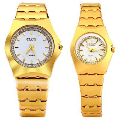 YiShi 902 Golden Diamond Quartz Watch for Couple