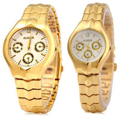 ROSRA 909 Couple Quartz Watch with Decorative Sub-dial