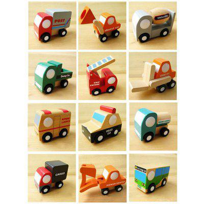 12 Sztuk Mini Car Drewniane Cartoon Model Kid Toy Early Learning Nice Gift