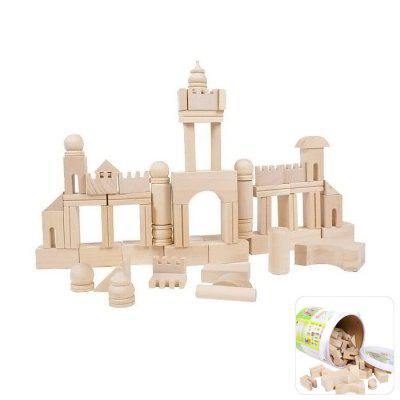 DIY Wooden Building Block 65Pcs Kid Puzzle Game Assemble Toy Early Education Tool