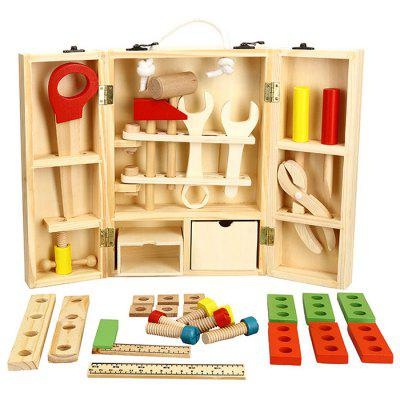 DIY Wooden Toolbox Multifunctional Simulation Repair Tool Toy for Play House Game Kid Gift