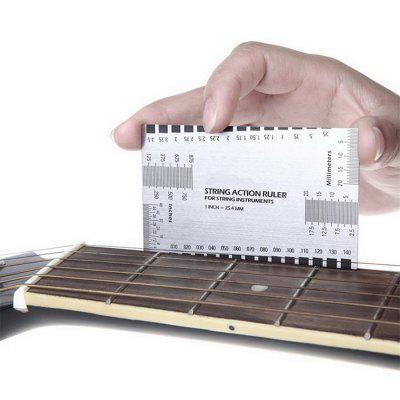 Acoustic Electric Guitar String Action Ruler Gauge Steel Luthier Tool Setup in / mm for Guitar Bass
