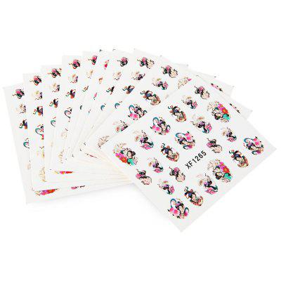 10pcs Colorful Stylish Art Sticker Tips Decoration Manicure Nail Paste