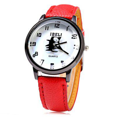 IBELI 802 Black Cat Second Dial Female Quartz Watch Leather Band